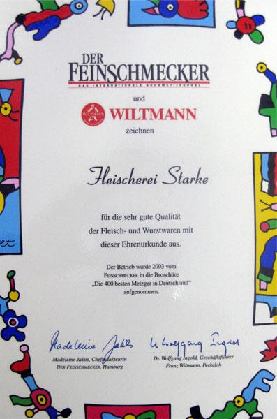 Feinschmecker Wiltmann Auszeichnung Metzgerei
